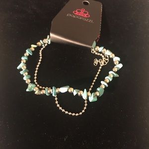 Silver and blue ankle bracelet